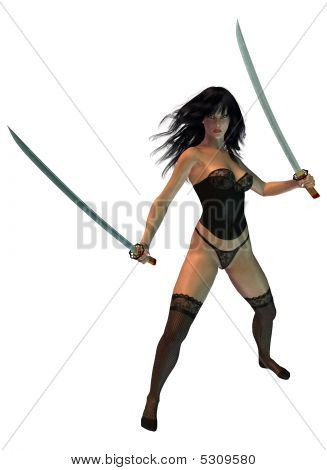 Woman Holding Swords