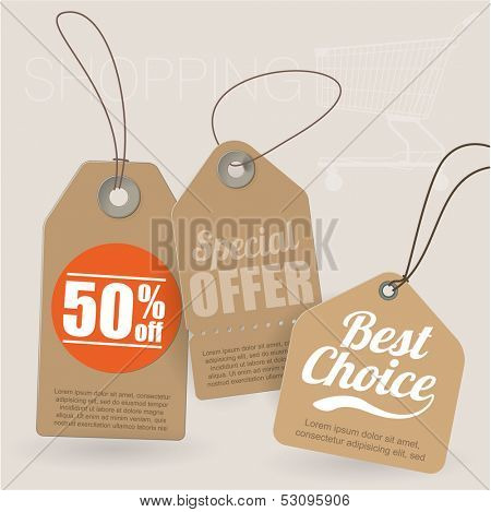 Retro style cardboard vintage sale labels. Vector.