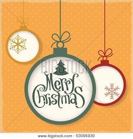Retro style christmas greeting card. Vector vintage minimalist design.