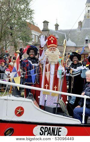 Sinterklaas Arriving On His Steamboat With His Black Helpers (zwarte Pieten)