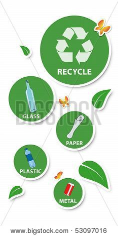Environmental Concept,round Stickers And Recyclable Materials, Isolated On White