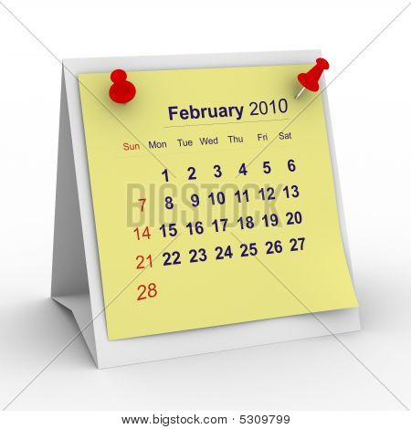 2010 Year Calendar. February. Isolated 3D Image