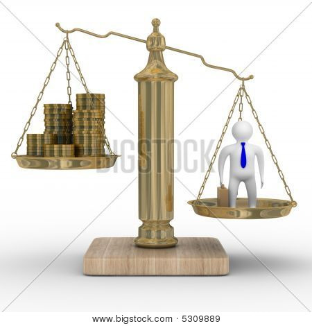 Cashes And Businessman On Weights. Isolated 3D Image
