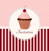 image of recipe card  - Vintage vector invitation card with cherry cream cake - JPG