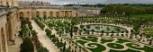 stock photo of royal botanic gardens  - wide panorama of famous versailles orange garden in france - JPG