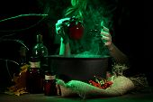 picture of witches cauldron  - Witch in scary Halloween laboratory on dark color background - JPG