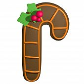 Gingerbread 3D Cartoon Christmas Stick With Holly