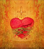 picture of sacred heart jesus  - The Sacred Heart of Jesus on grunge background - JPG