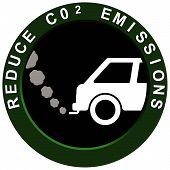 stock photo of fumes  - Reduce carbon C02 emissions logo with polluting car exhaust fumes - JPG