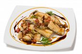 pic of halibut  - Roasted halibut with tomato concasse and sauce Teppan yaki - JPG