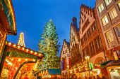 stock photo of weihnachten  - Traditional Christmas market on Roemer platz in Frankfurt - JPG
