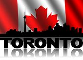 Toronto skyline and text reflected with rippled Canadian flag illustration