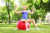 Blond female athlete in a park sitting on a pilates ball and exercising with dumbbells