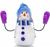 picture of ball cap  - snowman toy with mittens isolated on white background - JPG