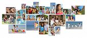 Montage of happy family parents and two children boy and girl enjoying an active lifestyle on holida