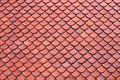 image of red roof tile  - Clay roof  texture tiles of Thai temple - JPG