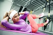 image of muscle  - Young woman streching muscles functional training - JPG