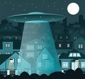 pic of flying saucer  - vector illustration of UFO saucer flying over the night city - JPG