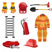pic of firefighter  - A vector illustration of firefighters object icons - JPG