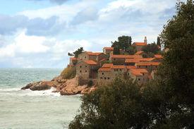 stock photo of former yugoslavia  - The historic island of Sveti Stefan in Montenegro - JPG