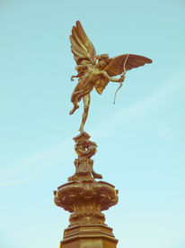 picture of ero  - Vintage look Piccadilly Circus with statue of Anteros aka Eros in London UK - JPG