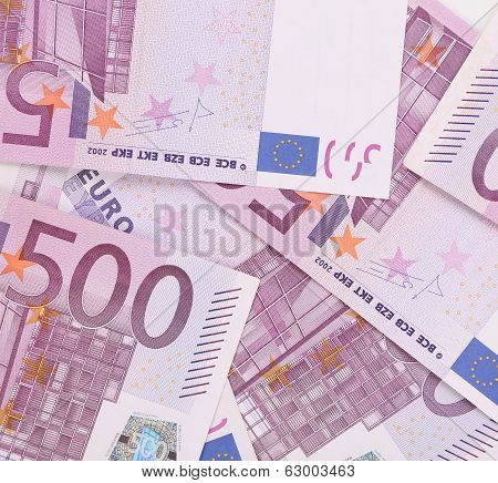 Five hundred euro notes. Whole background texture