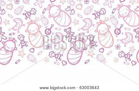 Baby girls horizontal border seamless pattern background