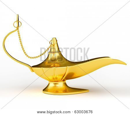 Golden Aladdin magic genie lamp isolated on white