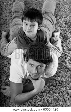 Dad And Son B&w