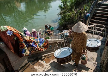 Laundry In The Perfume River, Vietnam