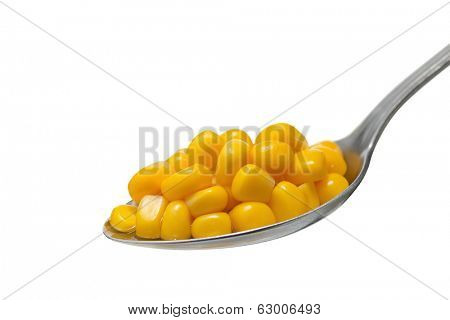 Cooked sweetcorn on spoon