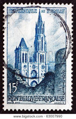 Postage Stamp France 1958 Senlis Cathedral, Oise