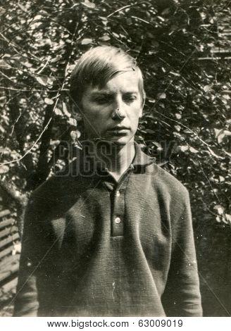 LODZ, POLAND, CIRCA 1960's: Vintage photo of boy