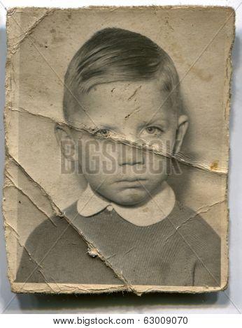 LODZ, POLAND, CIRCA 1950's: Vintage photo of boy
