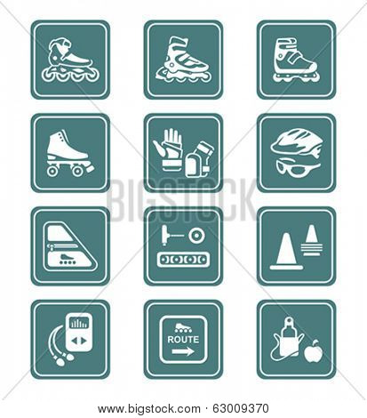 Inline skating boots, protection, accessories icon-set