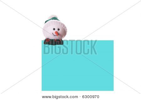Christmas Blue Card With Snowman