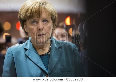 HANOVER, GERMANY - APRIL 7:  Chancellor Angela Merkel at Hannover Messe. April 7, 2014. The Hannover Messe is the largest industrial trade fair in the world