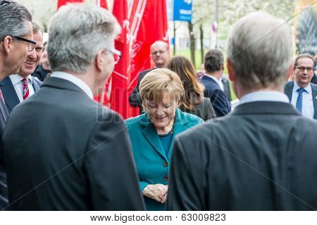 HANOVER, GERMANY - APRIL 7: German Chancellor Angela Merkel arriving at the Hannover Messe on Monday, April 7, 2014. The Hannover Messe is the largest Technology trade fair in the world
