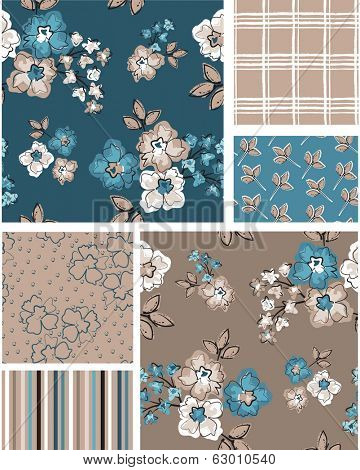 Floral vector seamless patterns. Use as fills to print onto fabric to create unique home furnishings.