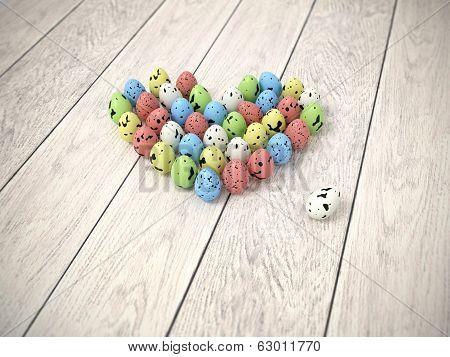 Colourful Easter Eggs Heart On White Wooden Floor