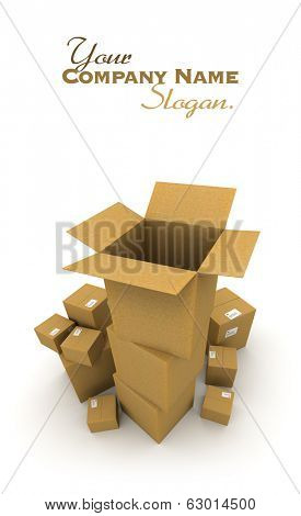 3d rendering of piles of cardboard boxes with an open empty one
