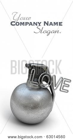 Hand grenade with the word love in pink instead of a ring
