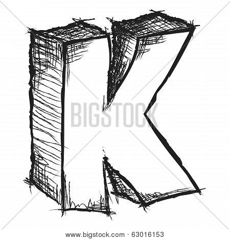 Sketchy Hand Drawn Letter K Isolated On White
