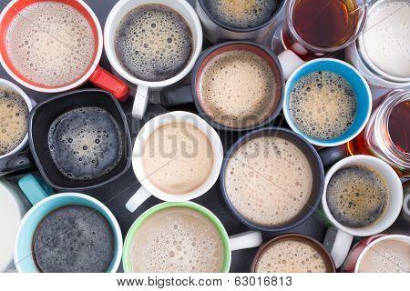 Background Of Mugs Full Of Fresh Hot Coffee