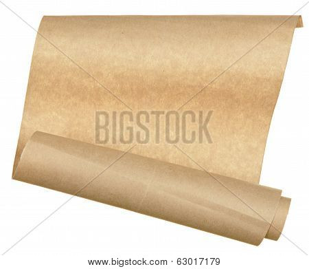 piece old paper rolled up in roll isolated on white background