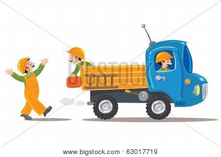 Three Funny Workers And Truck