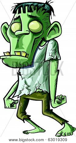 Cartoon stalking green zombie with big teeth