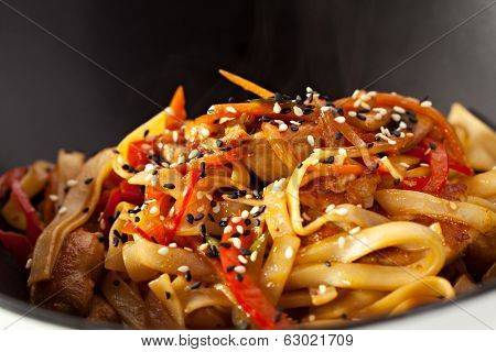 Udon (thick wheat noodles) with Fried Chicken and Vegetables
