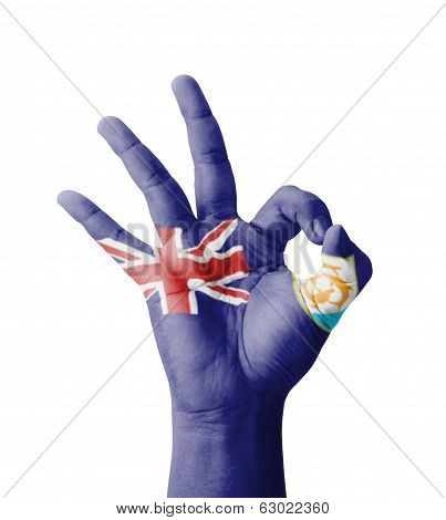 Hand Making Ok Sign, Anguilla Flag Painted As Symbol Of Best Quality, Positivity And Success - Isola