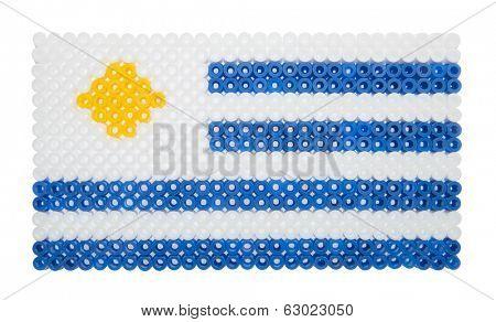 Uruguayan Flag made of plastic pearls